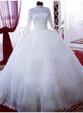 High Neck Ball-Gown Wedding Dresses Tulle Lace Long Sleeves Chapel Train