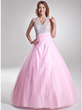 A-Line/Princess Floor-Length Prom Dresses Halter Tulle Sleeveless