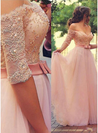 A-Line/Princess Off-the-Shoulder Floor-Length Tulle Prom Dresses With Beading Appliques Lace