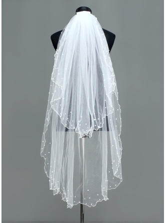 Fingertip Bridal Veils Tulle Two-tier Oval With Scalloped Edge Wedding Veils