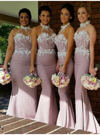 Trumpet/Mermaid Halter Sweep Train Bridesmaid Dresses