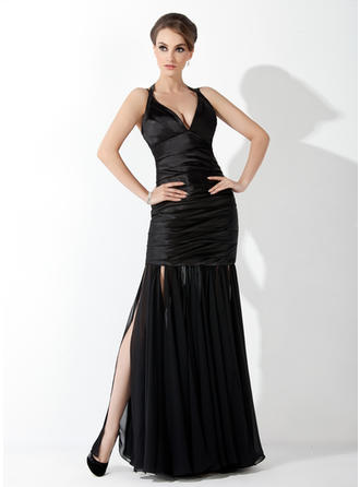 Trumpet/Mermaid Halter Floor-Length Evening Dresses With Ruffle