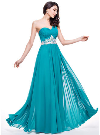 A-Line/Princess Chiffon Prom Dresses Ruffle Beading Appliques Lace Sequins One-Shoulder Sleeveless Floor-Length
