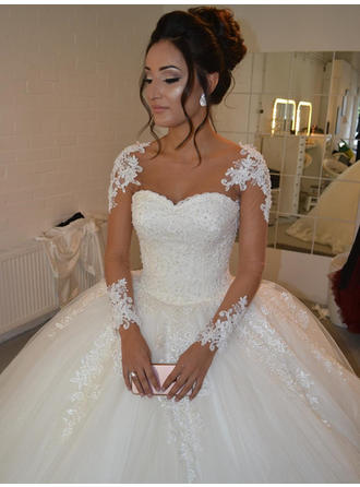 Ball-Gown Tulle Long Sleeves Scoop Court Train Wedding Dresses