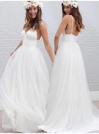 A-Line/Princess Tulle Sleeveless Deep V Neck Sweep Train Wedding Dresses