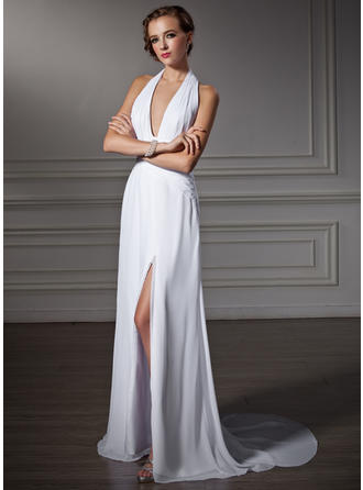 A-Line/Princess Watteau Train Prom Dresses Halter Chiffon Sleeveless