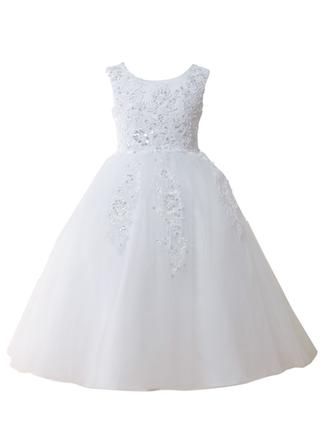 Delicate Scoop Neck A-Line/Princess Flower Girl Dresses Floor-length Tulle Sleeveless
