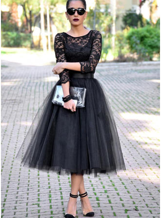 Newest Tulle Evening Dresses A-Line/Princess Tea-Length Scoop Neck 3/4 Sleeves