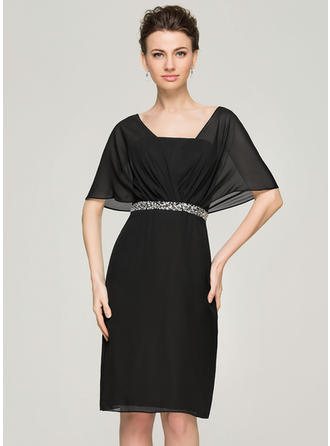 Sheath/Column Chiffon Short Sleeves V-neck Knee-Length Zipper Up Mother of the Bride Dresses