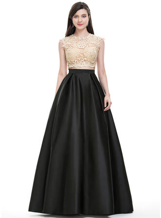 Ball-Gown Scoop Neck Floor-Length Satin Prom Dresses With Sequins