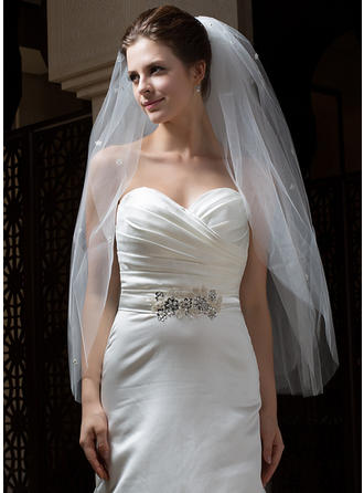 Fingertip Bridal Veils Tulle Five-tier Classic With Cut Edge Wedding Veils