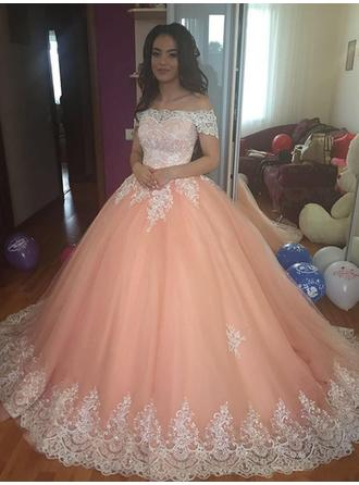 Ball-Gown Off-the-Shoulder Court Train Tulle Evening Dresses With Lace