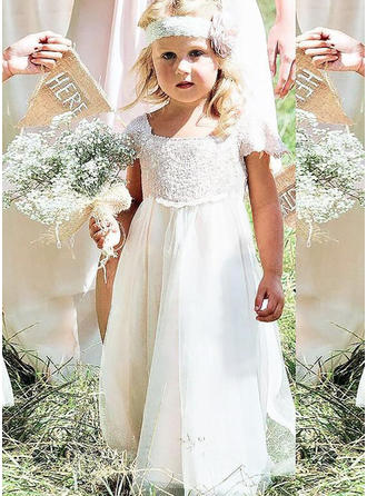 Stunning Square Neckline Trumpet/Mermaid Flower Girl Dresses Floor-length Chiffon/Lace Sleeveless