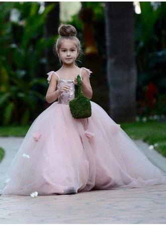 Ball Gown Square Neckline Court Train With Flower(s)/Sequins Tulle Flower Girl Dresses