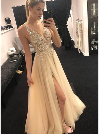 A-Line/Princess V-neck Floor-Length Prom Dresses With Beading Appliques Lace Split Front