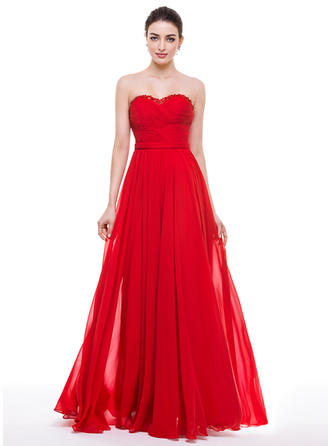 A-Line/Princess Sweetheart Floor-Length Prom Dresses With Ruffle Beading Appliques Lace Sequins Bow(s)
