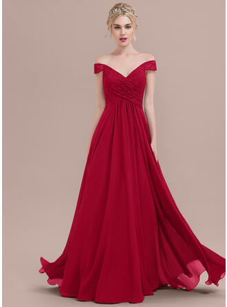 A-Line/Princess Off-the-Shoulder Floor-Length Chiffon Lace Prom Dresses With Ruffle