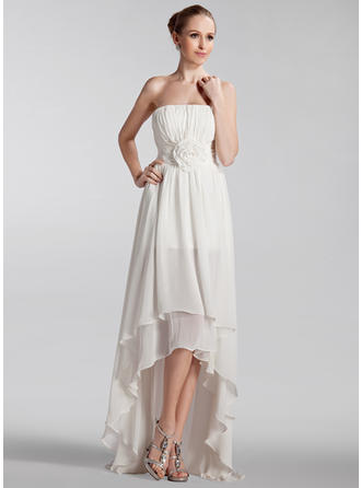 Magnificent Strapless A-Line/Princess Wedding Dresses Asymmetrical Chiffon Sleeveless