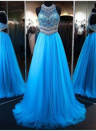A-Line/Princess Tulle Prom Dresses Beading Appliques Lace Sequins Scoop Neck Sleeveless Sweep Train