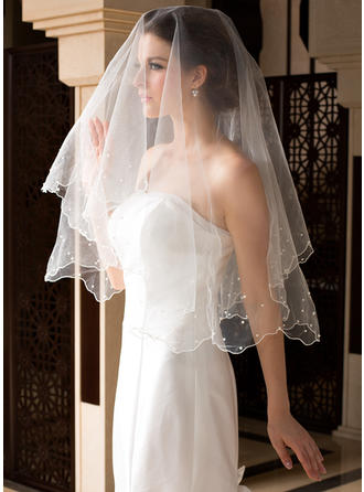 Waltz Bridal Veils Tulle One-tier Classic With Pearl Trim Edge/Scalloped Edge Wedding Veils
