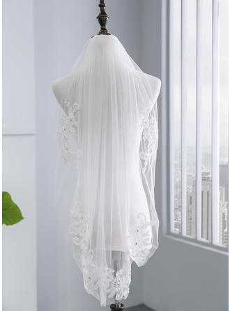 Elbow Bridal Veils Tulle One-tier With Lace Applique Edge With Rhinestones/Lace Wedding Veils