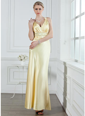 A-Line/Princess V-neck Ankle-Length Evening Dresses With Ruffle Beading