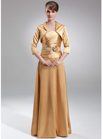 A-Line/Princess Charmeuse Sleeveless Strapless Floor-Length Zipper Up Mother of the Bride Dresses