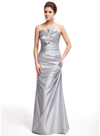 Sheath/Column Sweetheart Floor-Length Prom Dresses With Ruffle Bow(s)