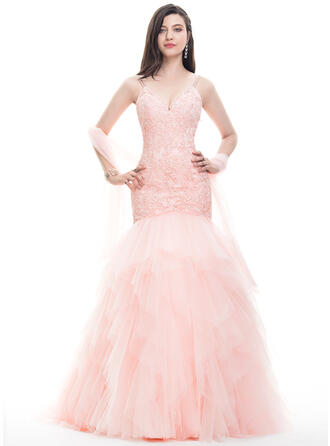 Trumpet/Mermaid V-neck Sweep Train Tulle Lace Prom Dresses With Beading