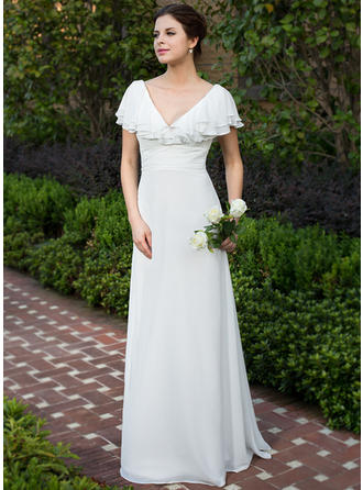 A-Line/Princess Sweetheart Floor-Length Wedding Dresses With Ruffle Cascading Ruffles