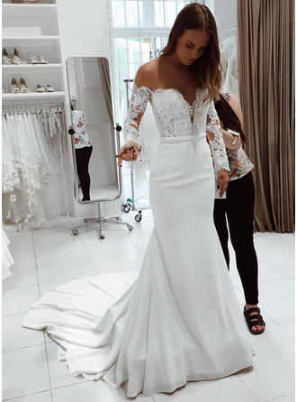 Trumpet/Mermaid Off-The-Shoulder Court Train Wedding Dresses With Lace