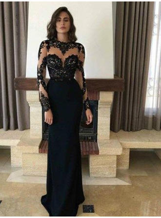 Sheath/Column Scoop Neck Sweep Train Evening Dresses With Appliques Lace