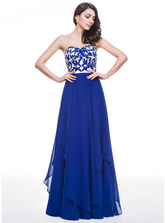 A-Line/Princess Sweetheart Floor-Length Prom Dresses With Lace Cascading Ruffles