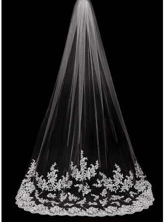 Cathedral Bridal Veils Tulle One-tier Drop Veil With Lace Applique Edge Wedding Veils