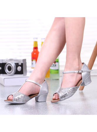 Women's Latin Heels Leatherette With Buckle Sequin Dance Shoes