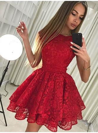 A-Line/Princess Scoop Neck Short/Mini Homecoming Dresses With Lace Bow(s)