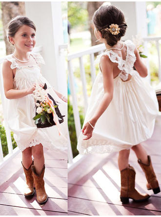 Beautiful Square Neckline A-Line/Princess Flower Girl Dresses Knee-length Chiffon Sleeveless