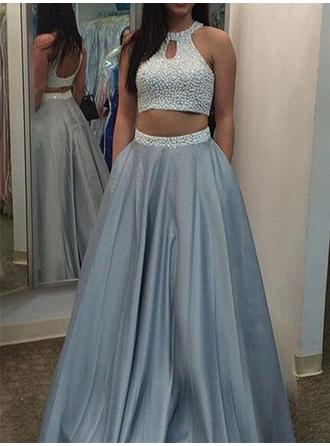 A-Line/Princess Floor-Length Prom Dresses Scoop Neck Satin Sleeveless