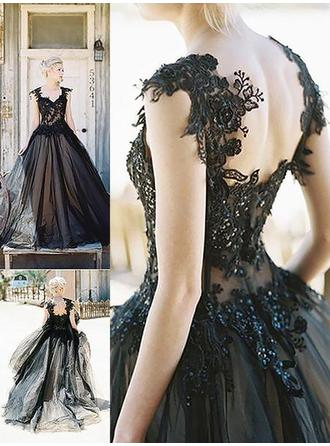 Ball-Gown Sweetheart Sweep Train Prom Dresses With Lace