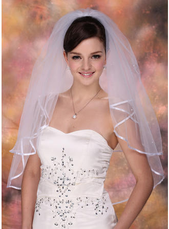 Elbow Bridal Veils Tulle Two-tier Classic/Cascade With Ribbon Edge Wedding Veils