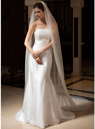 Cathedral Bridal Veils Tulle Two-tier Oval/Drop Veil With Cut Edge Wedding Veils