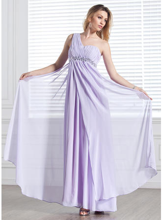 Empire One-Shoulder Floor-Length Evening Dresses With Ruffle Beading