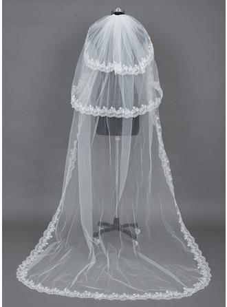 Chapel Bridal Veils Tulle Three-tier Drop Veil With Lace Applique Edge Wedding Veils