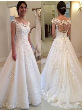 A-Line/Princess Scoop Sweep Train Wedding Dresses With Lace