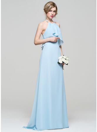 A-Line/Princess Halter Sweep Train Chiffon Bridesmaid Dress With Cascading Ruffles