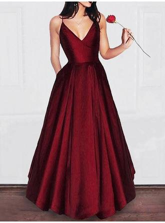 2018 New Satin Evening Dresses A-Line/Princess Floor-Length V-neck Sleeveless