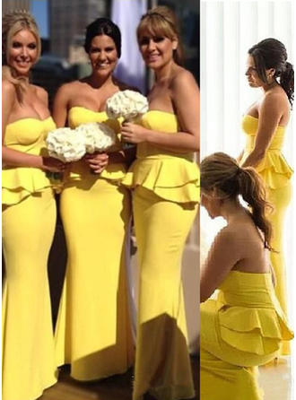 Sheath/Column Sweetheart Floor-Length Bridesmaid Dresses With Cascading Ruffles