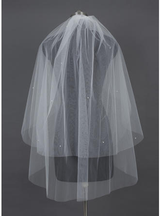 Fingertip Bridal Veils Tulle Two-tier Classic/Cascade With Cut Edge Wedding Veils