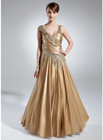 A-Line/Princess Charmeuse Sleeveless V-neck Floor-Length Zipper Up at Side Mother of the Bride Dresses