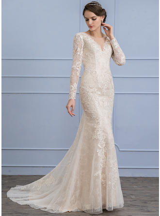Scoop Trumpet/Mermaid Wedding Dresses Lace Long Sleeves Sweep Train